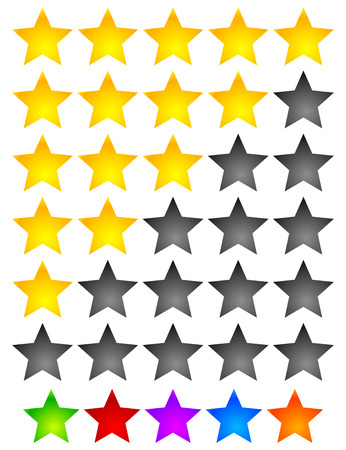 value system: Star Rating Element. Star rating system for feedback, value, good-bad experience, customer satisfaction, valuation of quality, good-bad quality concepts. Vector. Illustration