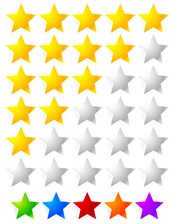 Star Rating Element. Star rating system for feedback, value, good-bad experience, customer satisfaction, valuation of quality, good-bad quality concepts. Vector. Illustration