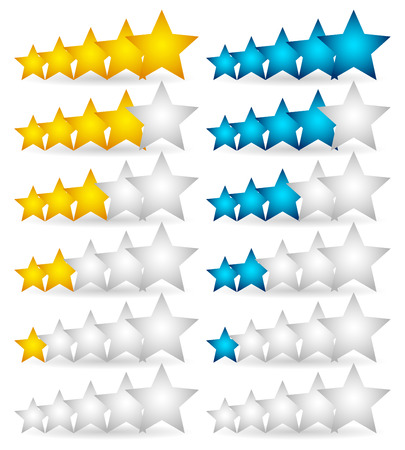 Star Rating Element. Star rating system for feedback, value, good-bad experience, customer satisfaction, valuation of quality, good-bad quality concepts. Vector. Vector