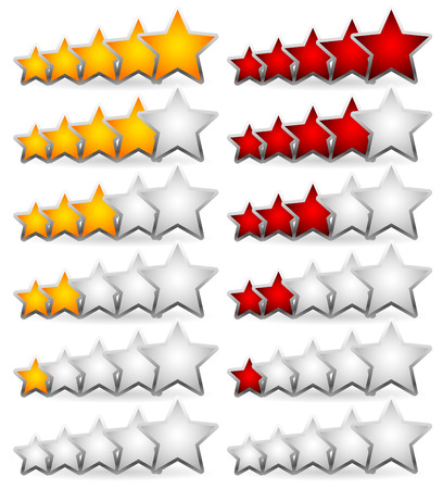 valuation: Star Rating Element. Star rating system for feedback, value, good-bad experience, customer satisfaction, valuation of quality, good-bad quality concepts. Vector. Illustration