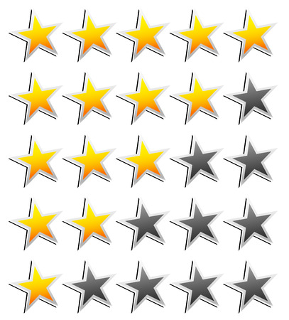 star rating: Stelle Element. Sistema di Classificazione per il feedback, il valore, buona brutta esperienza, la soddisfazione del cliente, la valutazione di qualit�, concetti di qualit� buono-cattivo. Vector. Vettoriali
