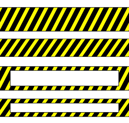 cordoned: Repeatable yellow tapes, bands, strips. Vector, editable. (Can be repeated horizontally) Illustration
