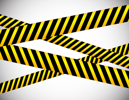 blockade: Repeatable yellow tapes, bands, strips. Vector, editable. (Can be repeated horizontally) Illustration