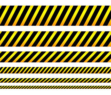 Cintas amarillas repetibles, bandas, tiras. Vector, editable. (Puede repetirse horizontalmente)