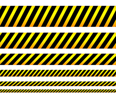Repeatable yellow tapes, bands, strips. Vector, editable. (Can be repeated horizontally) Stock Illustratie