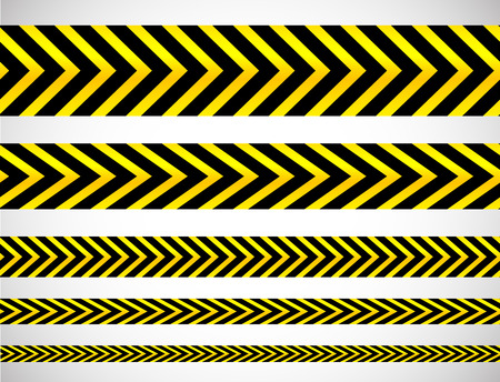 perimeter: Repeatable yellow tapes, bands, strips. Vector, editable. (Can be repeated horizontally) Illustration