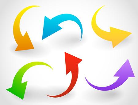 flecha direccion: Abombados, curvados de vectores de colores Flecha elementos aislados en blanco. Vectores