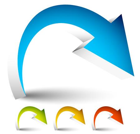 Abombados, curvados de vectores de colores Flecha elementos aislados en blanco. Vectores