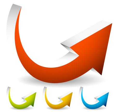 Gebogen, Bent Kleurrijke Vector Arrow elementen geïsoleerd op wit. Stockfoto - 38901296