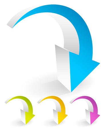湾曲した、白で隔離される曲がったカラフルなベクトルの矢印要素。  イラスト・ベクター素材