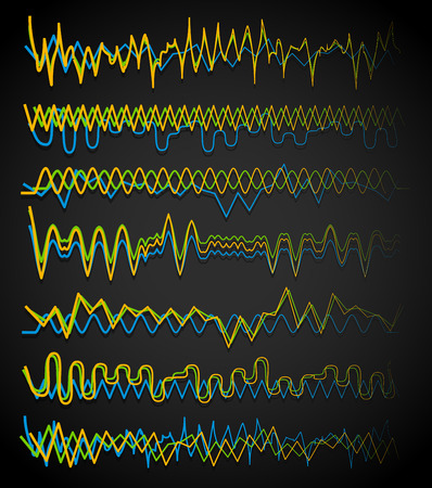 sinuous: Equalizer (Eq) lines. Wavy, zigzag lines. Frequency, squiggle lines. Vector