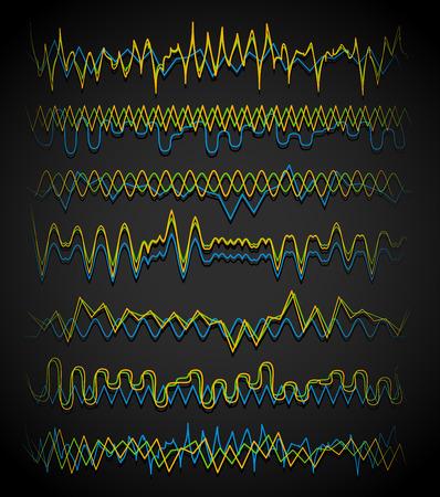 eq: Ecualizador (EQ) l�neas. Ondulado, l�neas en zigzag. Frecuencia, l�neas squiggle. Vector