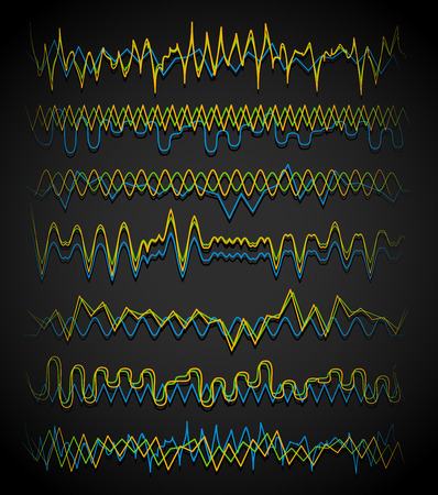 squiggle: Equalizer (Eq) lines. Wavy, zigzag lines. Frequency, squiggle lines. Vector