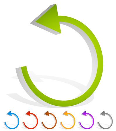 Arrow following a circle path, rotating circular arrow leftwards.