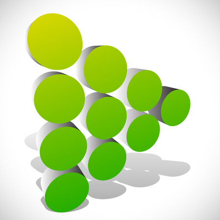 arow: Dotted 3d arrow - arrowhead in green. Generic icon, play button, pointer right. Illustration