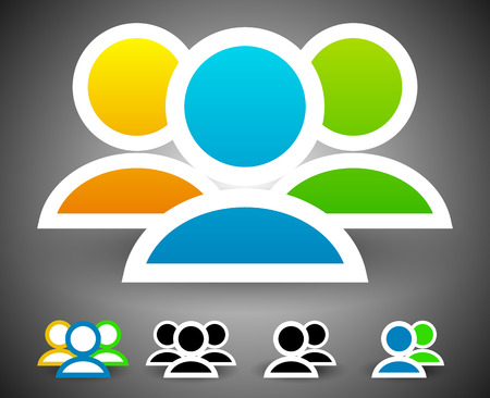 Characters, group of people vector graphics. Colored and black and white versions included Vector