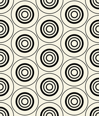 Concentric dark blue-black circles on yellow. Repeatable pattern. Vector.  イラスト・ベクター素材
