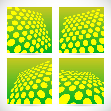 Dotted, green background set with perspective effect. Vector Vector