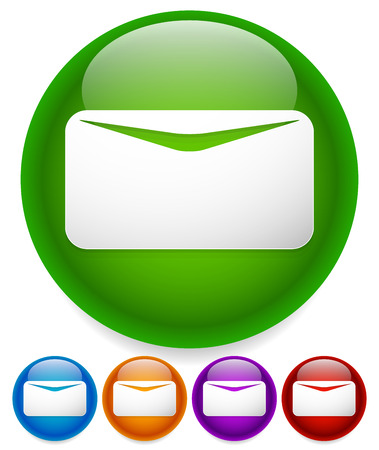 Newsletter, mail, email icon or button. White envelope symbol on bright circles with glossy effect. Illustration