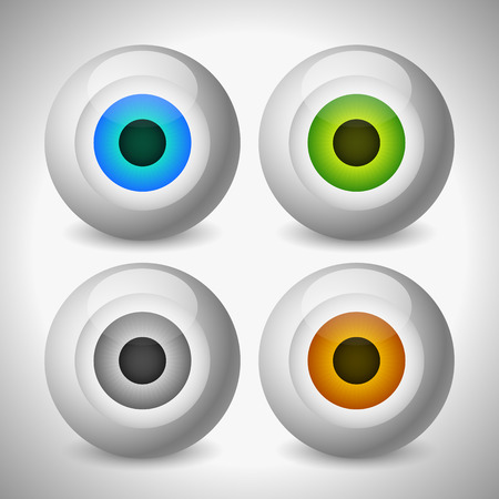 brown eyes: Eye, eyeball graphics in different colors. Gray, green, brown and blue eyes. Editable vector. Illustration