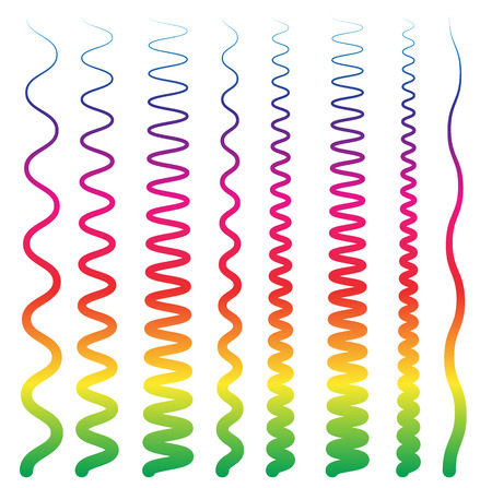 deform: Colorful, abstract line elements with distortions. Smooth, wavy and curved lines.