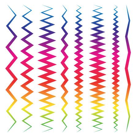 puntig: Kleurrijke lijn elementen met vervormingen. Wees, hoekig.