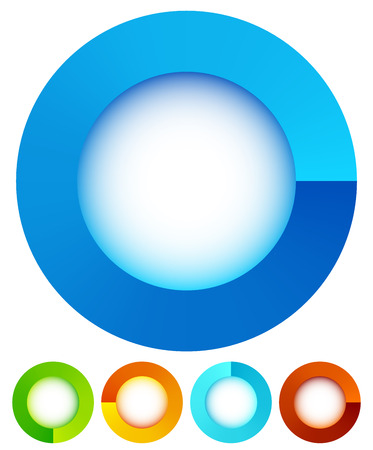 Circular, round design elements. Preloader, buffers shapes, progress indicators. Vector Illustration