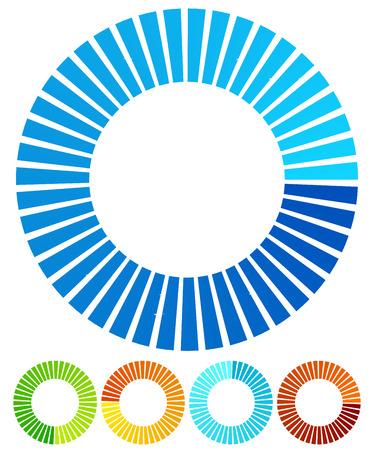 buffers: Circular, round design elements. Preloader, buffers shapes, progress indicators. Vector Illustration