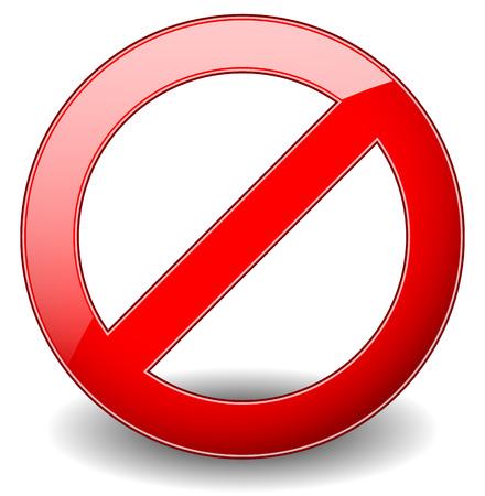 tachado: Prohibici�n rojo, restricci�n - Ninguna se�al de entrada. Ilustraci�n vectorial