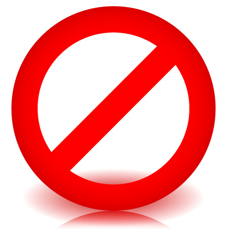 unauthorized: Red prohibition, restriction - No entry sign. Vector Illustration