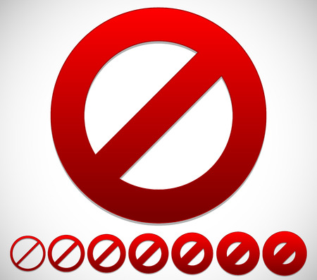 no entry sign: Red prohibition, restriction - No entry sign. Vector Illustration