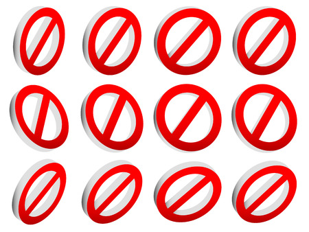 strikethrough: Red prohibition, restriction - No entry sign. Vector Illustration