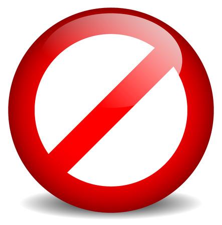 빨간색 금지, 제한 - 진입 흔적이 없습니다. 벡터 일러스트 레이션
