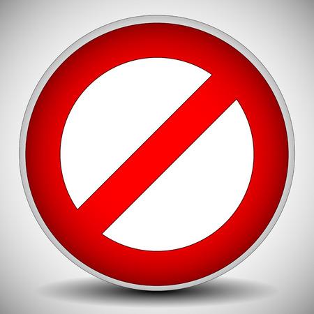prohibition: Interdiction Rouge, restriction - Aucun signe d'entrée. Illustration Vecteur