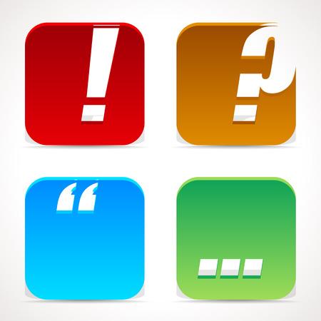 punctuation mark: Iconos marca puntuacion. Signo de exclamaci�n, signo de interrogaci�n, marca de cotizaci�n y elipses. Met�lico efecto 3D Vectores