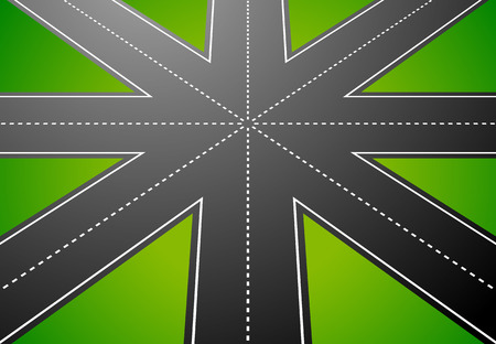 junction: Junction, road from above with perspective. vector Illustration