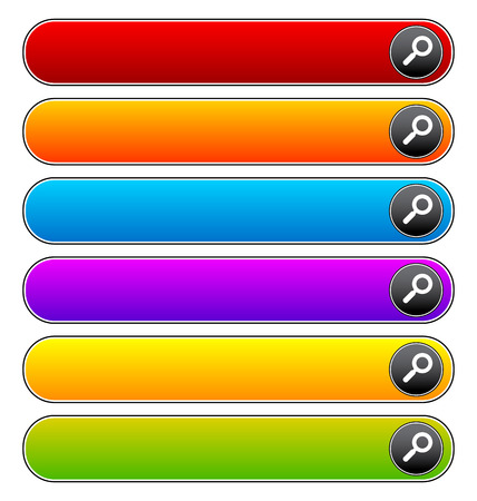 Search bars, buttons with magnifier glass symbols Vector