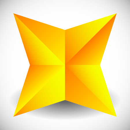 karat: Faceted star vector illustration with shadow isolated