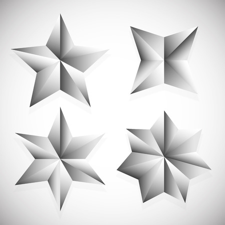 Faceted stars vector illustration isolated on white with shadow Vector
