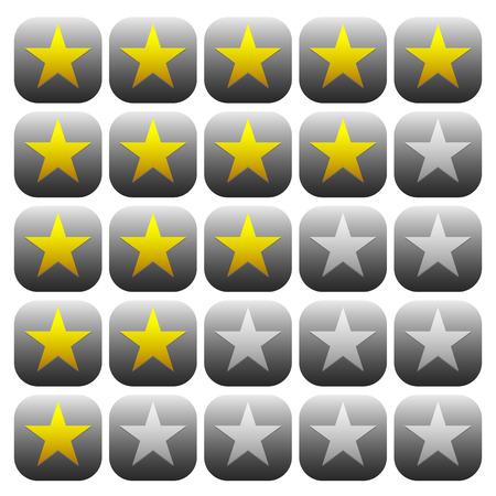 star rating: Elemento stelle 5 stelle. La grafica vettoriale. Vettoriali