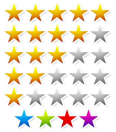 star rating: 5 star star rating element. Vector graphics. Illustration