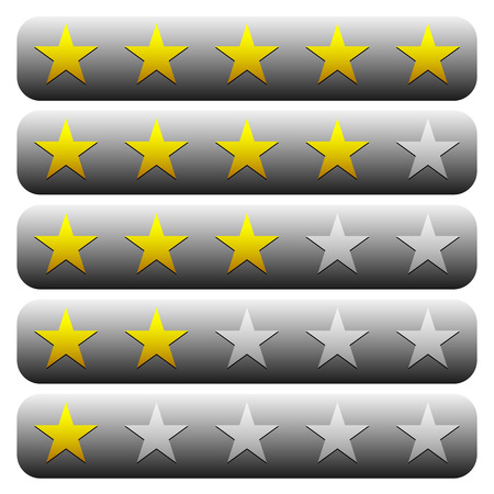 worse: 5 star star rating element. Vector graphics. Illustration