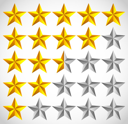 classify: 5 star star rating element. Vector graphics. Illustration