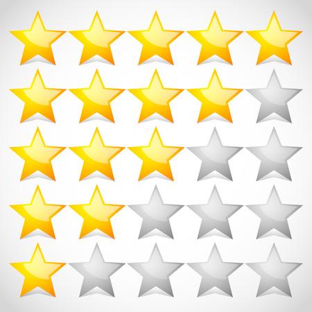 valuation: 5 star star rating element. Vector graphics. Illustration