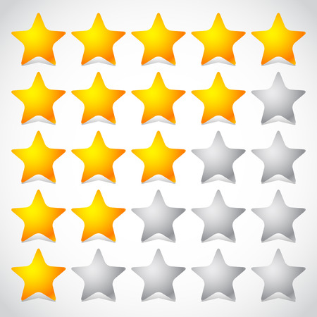reviewing: 5 star star rating element. Vector graphics. Illustration