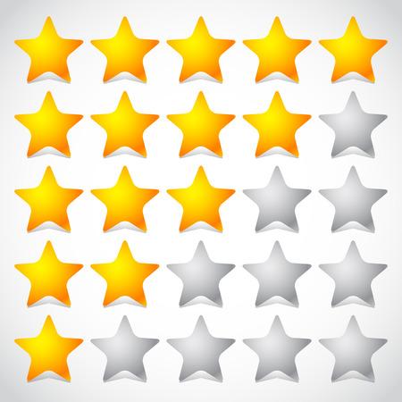 5 sterren ster rating element. Vectorafbeeldingen.