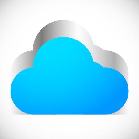 extrusion: 3d Cloud icon with metallic extrusion. Editable vector