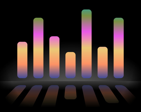 eq: Eq, equalizer graphics with reflection, vector version