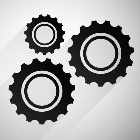 rackwheel: Gears, cogwheels icon, graphics for maintenance, repair, manufacturing and development concepts. Stock Photo