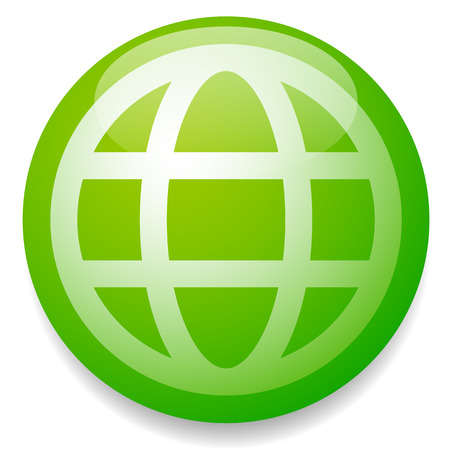 globe grid: Green grid, wire frame globe vector icon, symbol